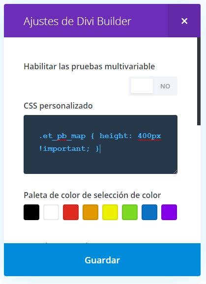 Código CSS para cambiar la altura del mapa en Divi