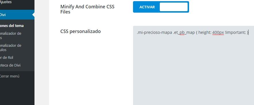 Código CSS para cambiar la altura del mapa de Divi