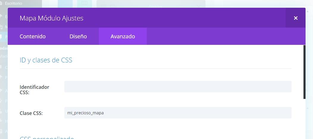 Clase CSS en el módulo Mapa de Divi