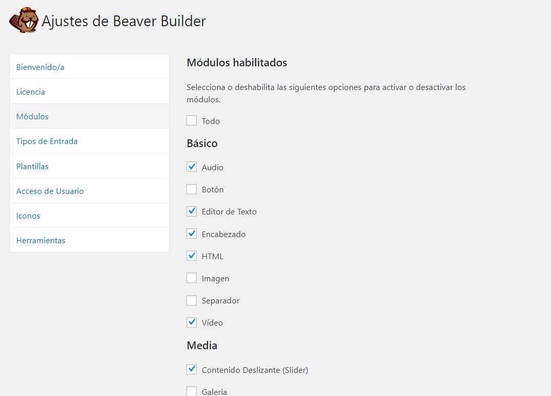 Ajustes de módulos de Beaver Builder