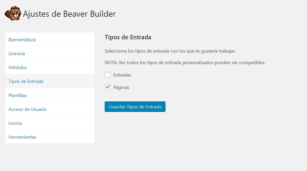 Ajustes de tipos de entrada en Beaver Builder