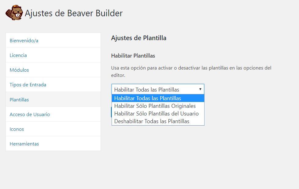 Ajustes de plantillas de Beaver Builder