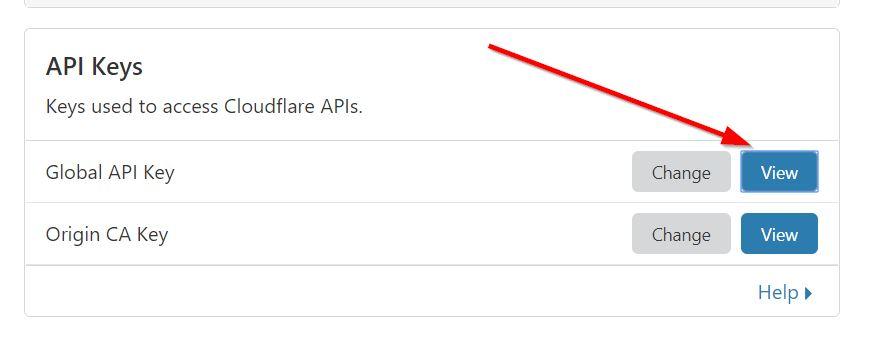 Botón Ver de la sección de APIs de Cloudflare