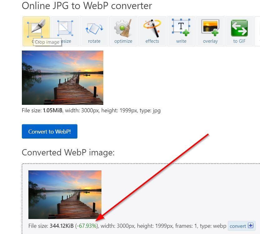 Conversión de JPG a WebP - resultados